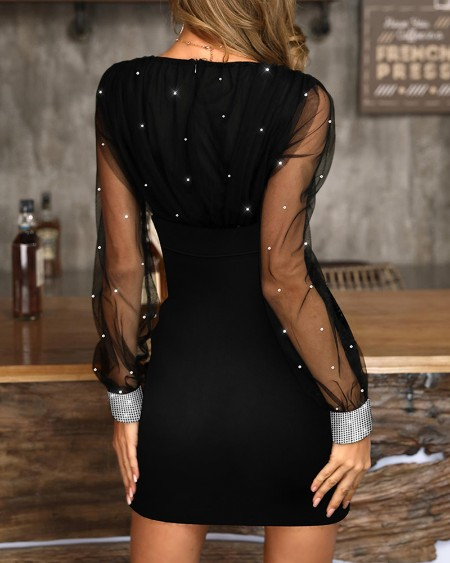 Glitter Mesh V-Neck Party Dress