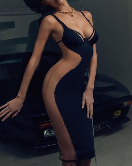 Sheer Mesh Spaghetti Strap Backless Dress