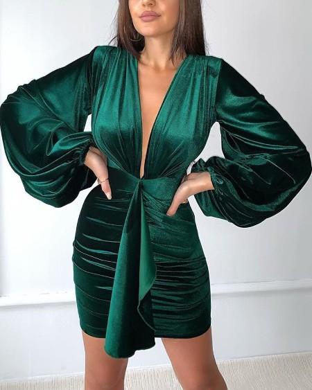 Deep V Tie Waist Ruched Dress