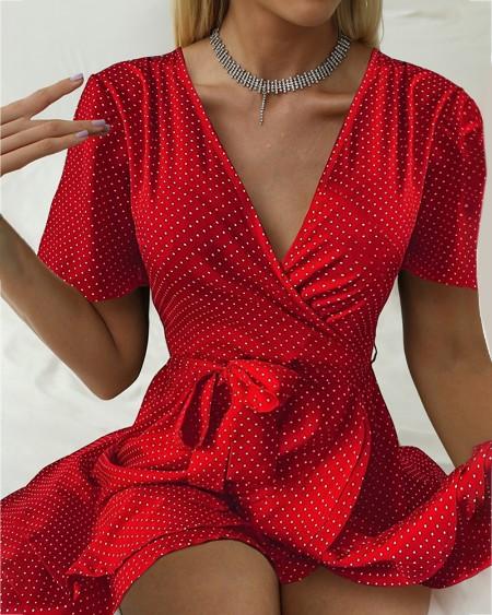 Dot Print Tied Detail Wrap Dress