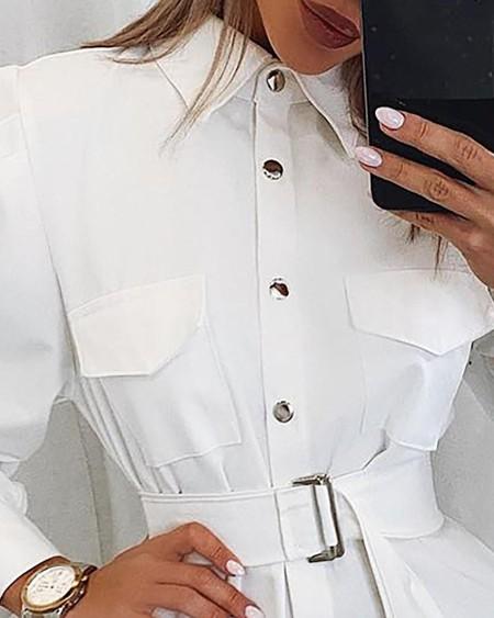 Leg-of-Mutton Sleeve Buttoned Shirt Dress