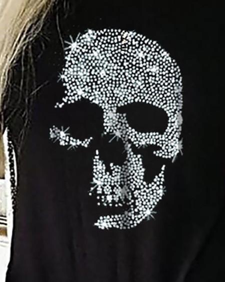 Ladder Cutout Studded Skull Pattern Top