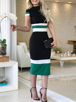 Contrast Color Striped Splicing Bodycon Dress