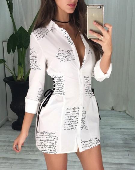 Letter Print Lace-Up Detail Shirt Dress
