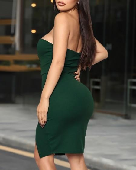 Solid Off Shoulder Bodycon Slit Dress