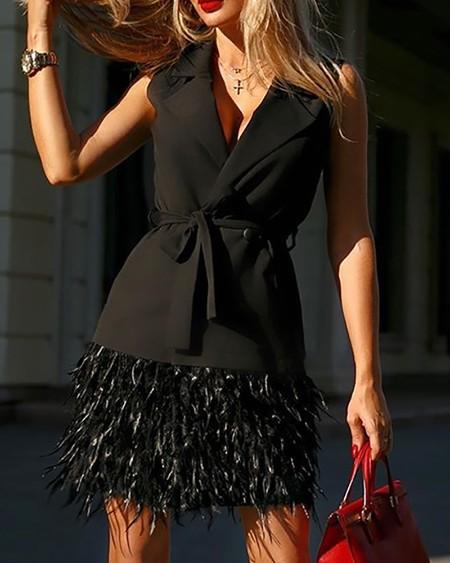 Notched Collar Feather Insert Sleeveless Blazer Dress