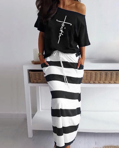 Letter Pattern Print Casual Top & Striped Maxi Skirt Set
