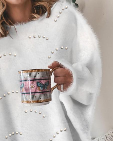 Beaded Lantern Sleeve Fluffy Sweater