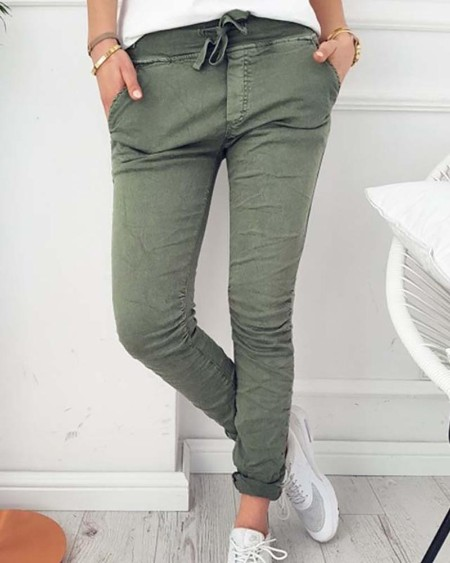 boutiquefeel / Solid Color High Waist Slinky Pants