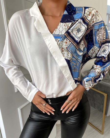 Abstract Print Colorblock Long Sleeve Shirt