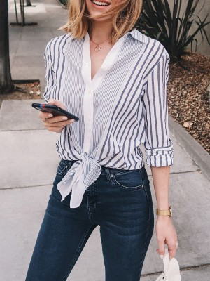 Casual Striped Knot Front Blouse