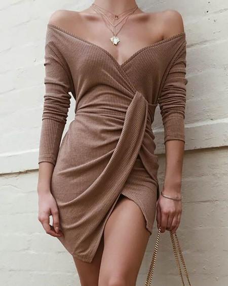 Cold Shoulder Ruched Surplice Dress