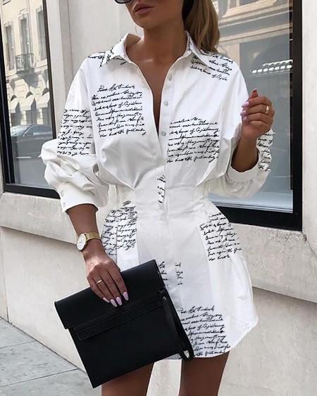 Letter Print Tight Waist Shirt Dress
