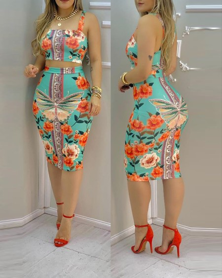 Floral Butterfly Print Crop Top & Midi Skirt Set