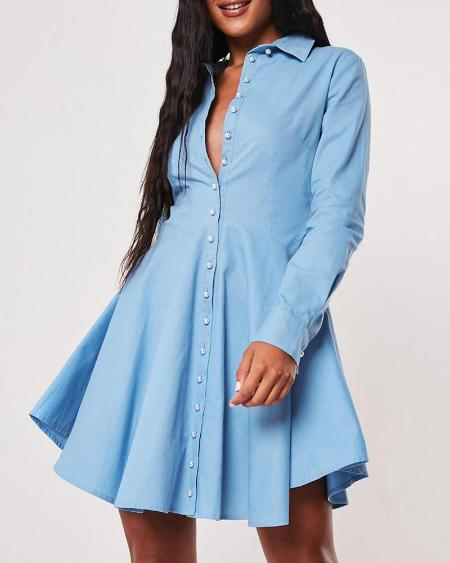 boutiquefeel / Solid Buttoned Casual Pleated Dress