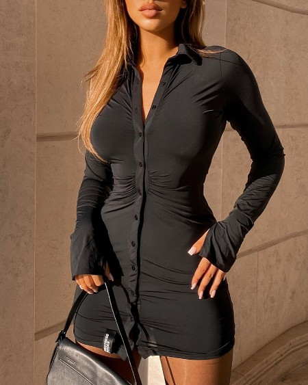 Buttoned Bell Sleeve Slit Shirt Dress