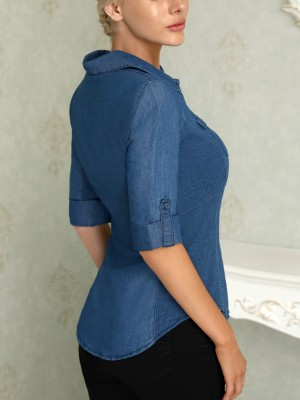 Roll-Up Sleeve Casual Denim Blouse