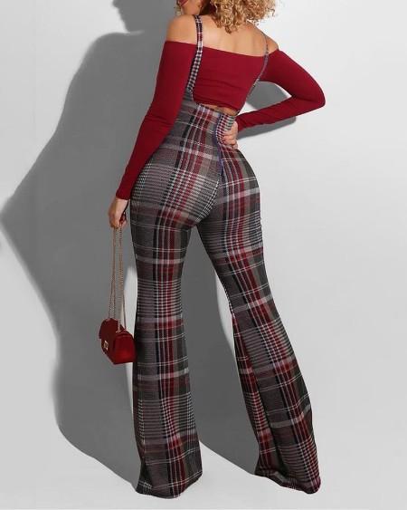 Plaid Colorblock Suspender Pants