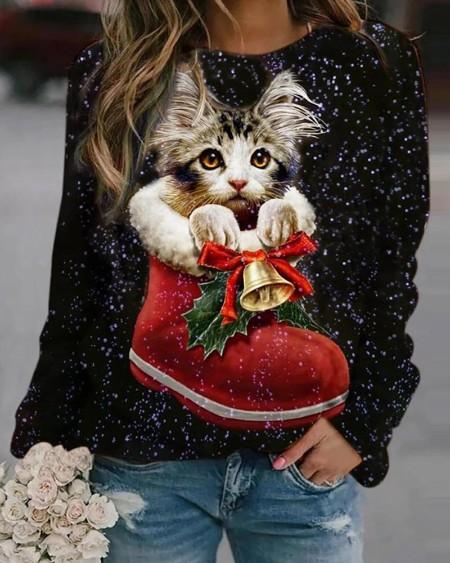 Christmas Cat Print Long Sleeve Sweatshirt