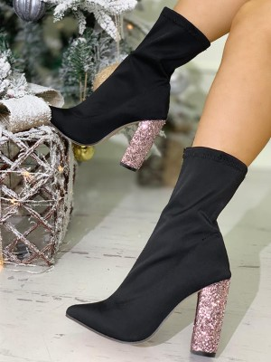 Point Toe Sequins Chunky Heeled Boots