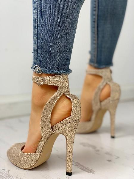 Glitter Peep Toe Thin Heeled Sandals