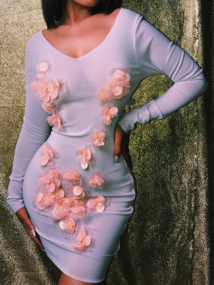 Floral Applique Open Back Bodycon Dress