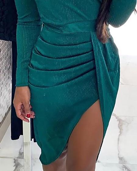 Off Shoulder Ruched Slit Dress