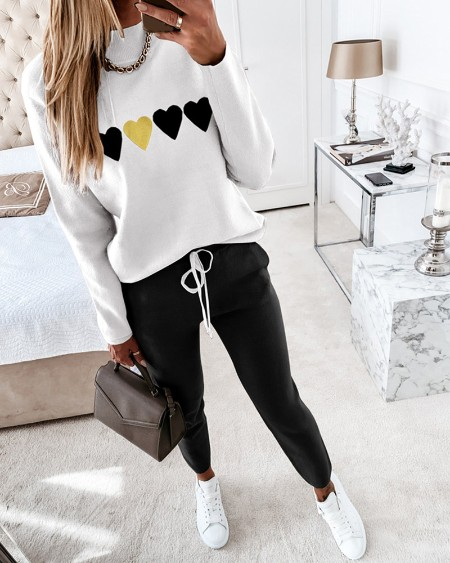 Heart Print Long Sleeve Top & Drawstring Waist Pants Set
