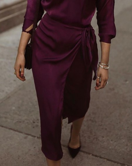 Three Quarters Sleeve Wrap Front Slit Casual Dress