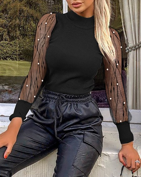 Solid Mesh Patchwork See Through Beaded Detail Blouse