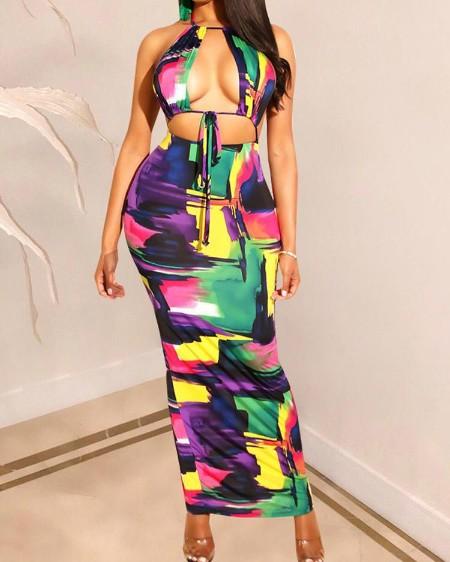 boutiquefeel / Open Back Halter Floral Print Dress