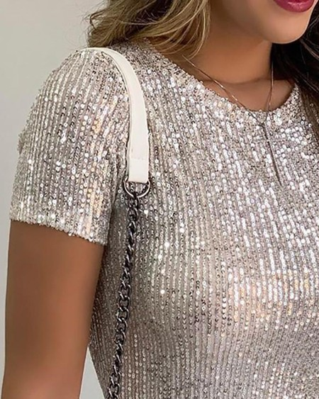 Glitter Short Sleeve Round Neck Sequins Blouse