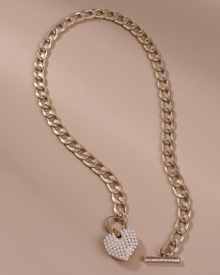 Heart Pattern Beaded Chain Necklace