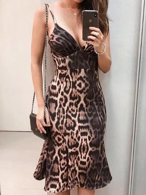Leopard Spaghetti Strap Ruffle Hem Midi Dress