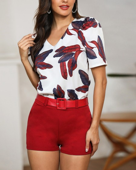 Leaf Print Short Sleeve Top & Short Sets