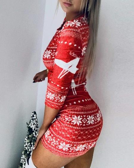 Christmas Mixed Print Long Sleeve Bodycon Dress
