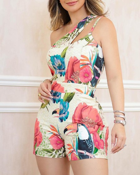 One Shoulder Floral Print Casual Romper