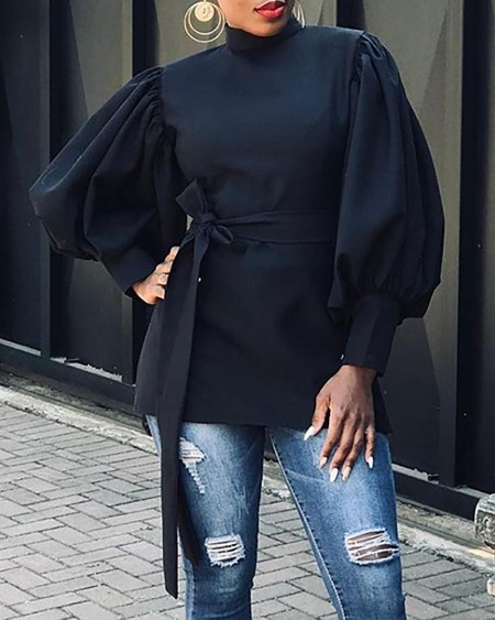 Lantern Sleeve Side Slit High Neck Blouse