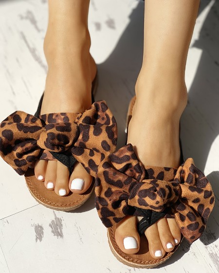 Leopard Bowknot Design Flat Sandals