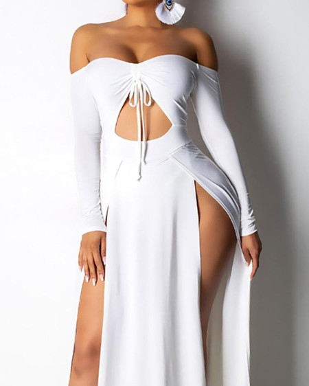 1ea0bcce0a4 Off Shoulder High Slit Maxi Dress