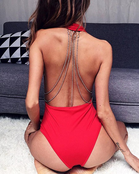 Plain Chain Decor Backless Bodysuit