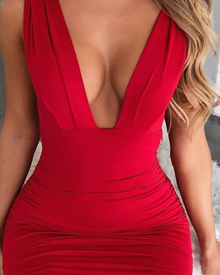 Deep V Neck Sleeveless Bodycon Dress
