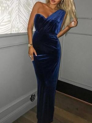One Shoulder Ruched Velvet Prom Dress