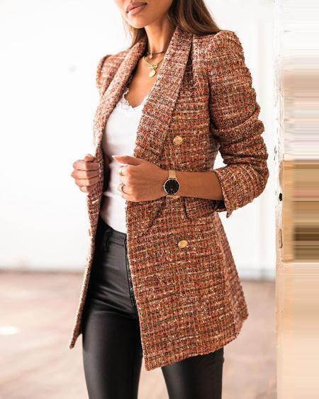 Tweed Colorblock Button Design Blazer Coat
