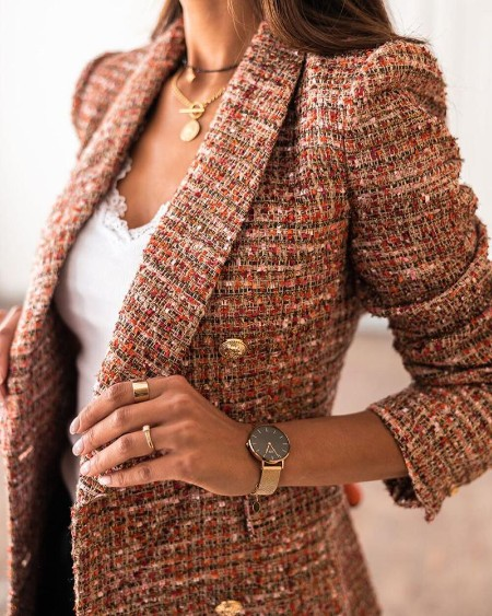 Tweed Colorblock Button Design Blazer Coat