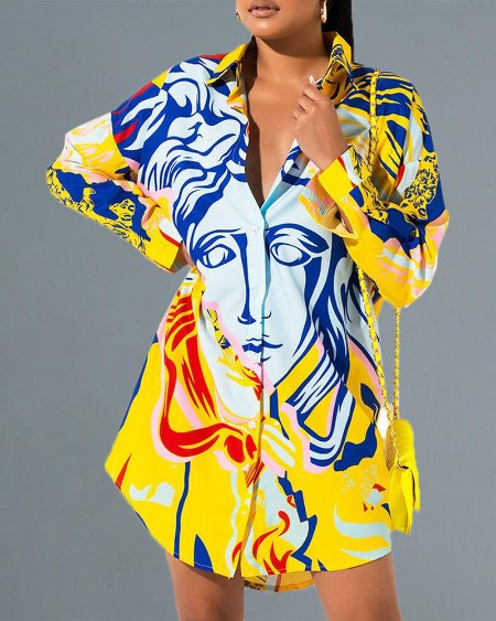 Abstract Print Long Sleeve Casual Shirt Dress