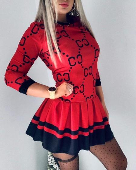 Christmas Colorblock Long Sleeve Pleated Dress