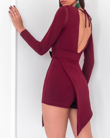 Deep V-Neck Backless Irregular Bodycon Dress