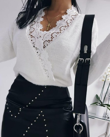 Contrast Lace Surplice Casual Knit Sweater