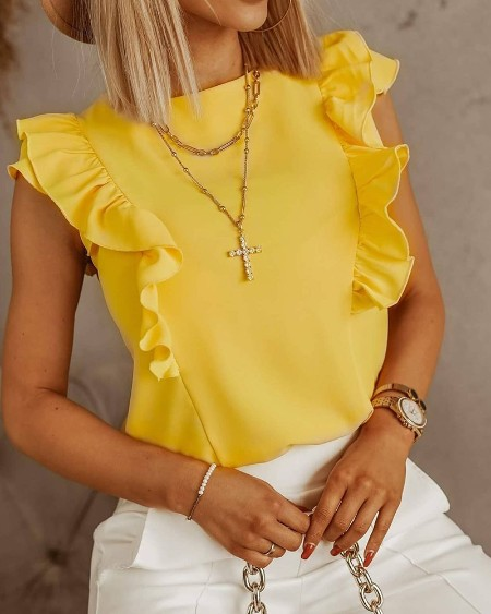 Ruffle Hem Tie Up Design Plain Sleeveless Top